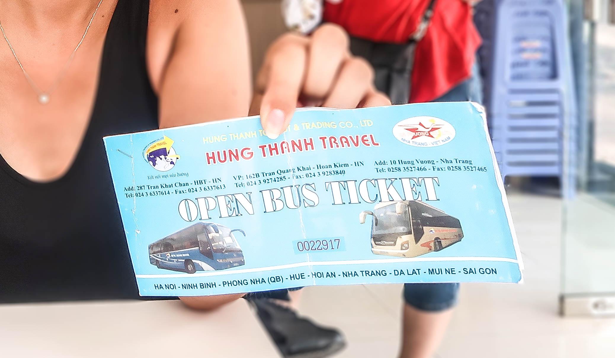 Open Bus Ticket in Vietnam